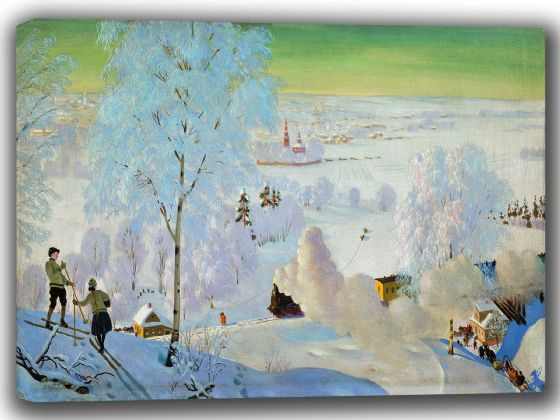 Kustodiev, Boris: Skiers. Fine Art Canvas. Sizes: A4/A3/A2/A1 (002193)